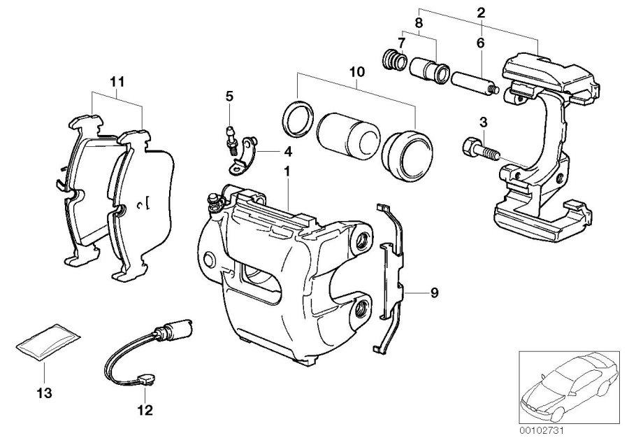 bmw 330xi repair set brake caliper  front  sensor  pad