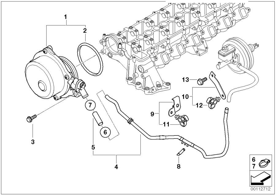 bmw x5 bracket for vacuum hose  tubes  pump  engine  control