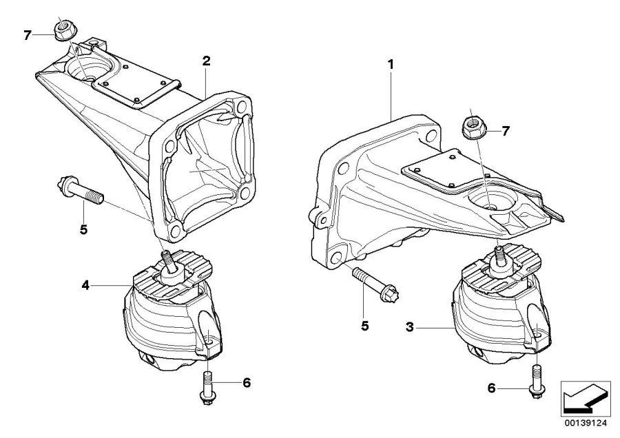 bmw 550i engine mount  right  suspension  transmission