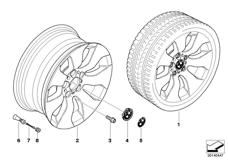 bmw 335i light alloy rim  8jx17 et 34  wheels  wheel