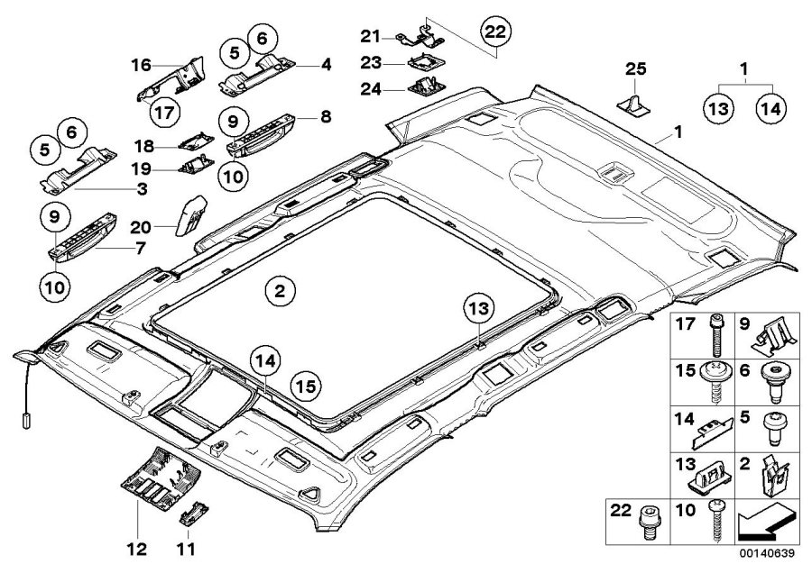 Bmw X3 Headlining Panoramic Roof  Sandbeige  Interior  Equipment  Body