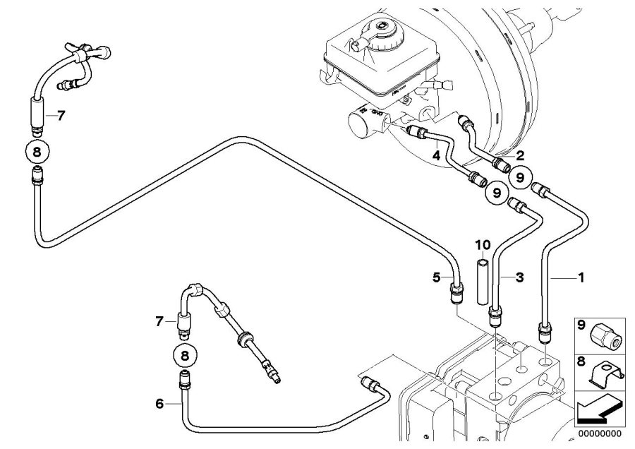 bmw m5 brake circuit pipe  rear  d 6mm  front  brakes