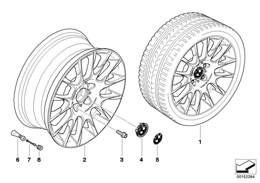 bmw 335i light alloy rim  8jx18 et 34  wheels  wheel