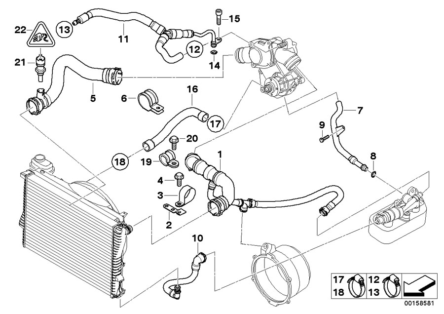 bmw 750il coolant return pipe engine cooling. Black Bedroom Furniture Sets. Home Design Ideas