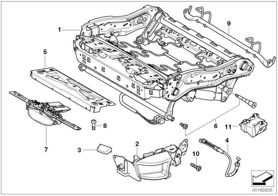 bmw 530xi holder  heating module  seat  front  trim  frame