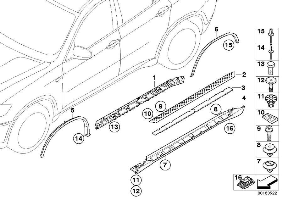 Bmw X6 Left Door Sill Cover  Schwarz  Arch  Wheel  Trim