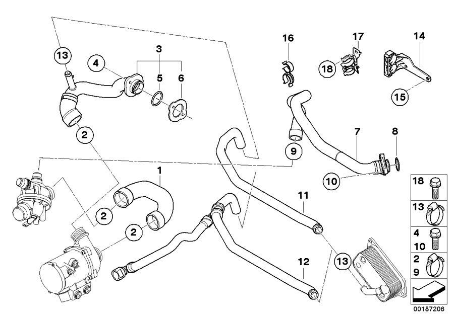 bmw 530xi hose  thermostat-coolant pump  yes  cooling  transmission
