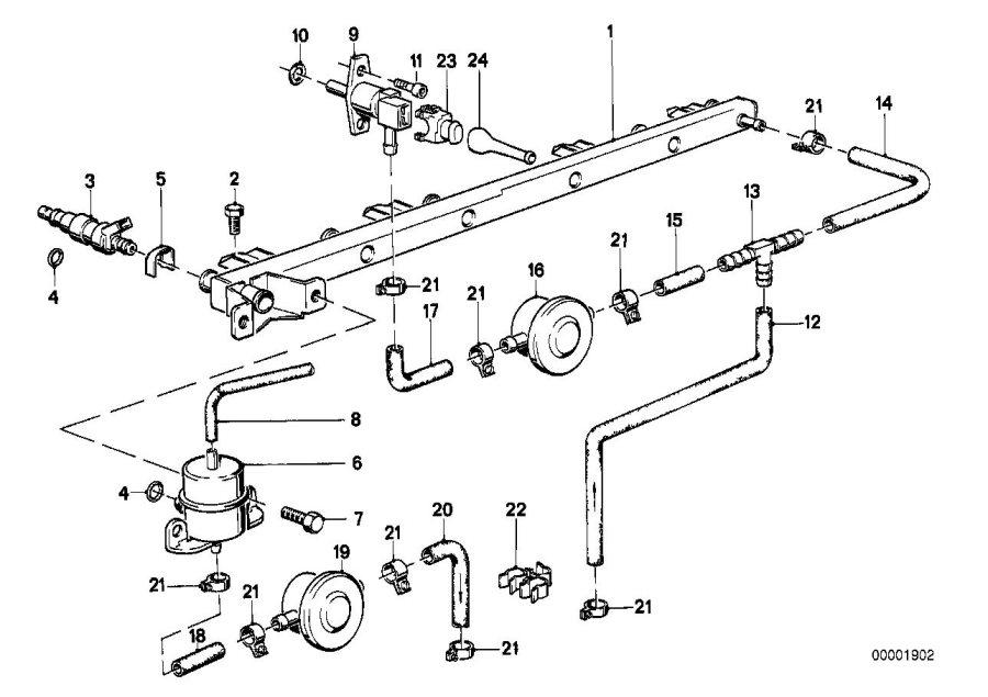 Bmw 318i Fuel Hose 32mm 210mm System Filter Supply