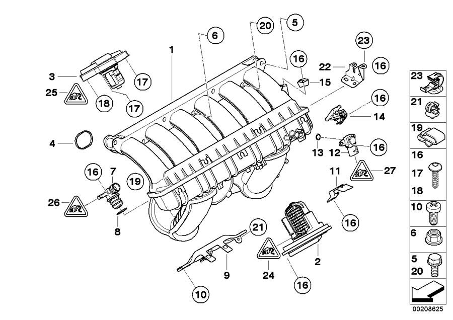 bmw 325xi vent hose  manifold  intake  engine