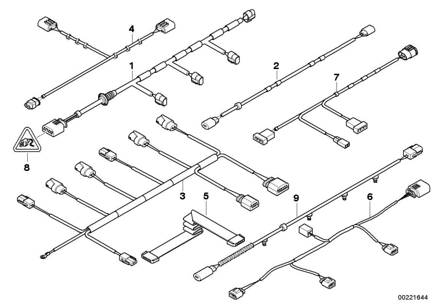 bmw x5 wiring set pdc  front