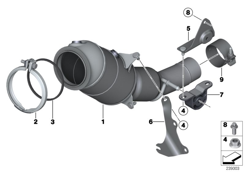 Bmw X1 Exch Catalytic Converter Close To Engine