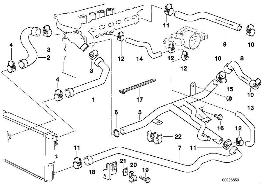 BMW 528i Hose. Engine, Cooling, Hoses - 13541703945 | BMW ...