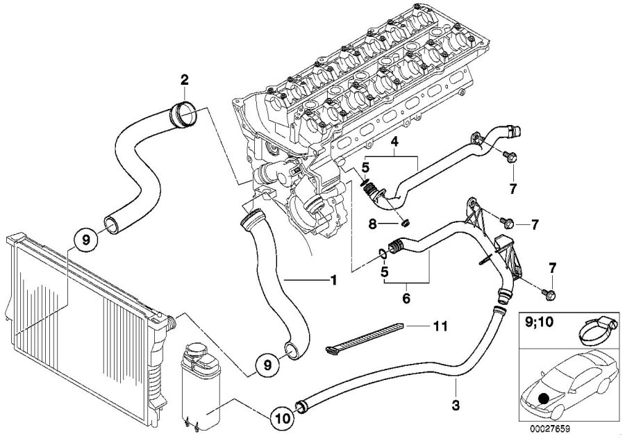 bmw z3 water hose  cooling  radiator  engine