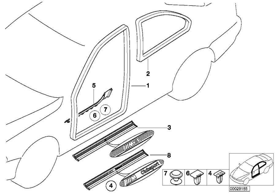 bmw m3 left vent window gasket  schwarz  trim  body  door