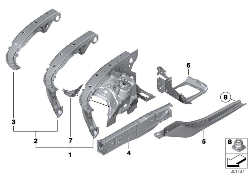 bmw hybrid 7 wheelhousing with vin  front right  basis  alpina  body
