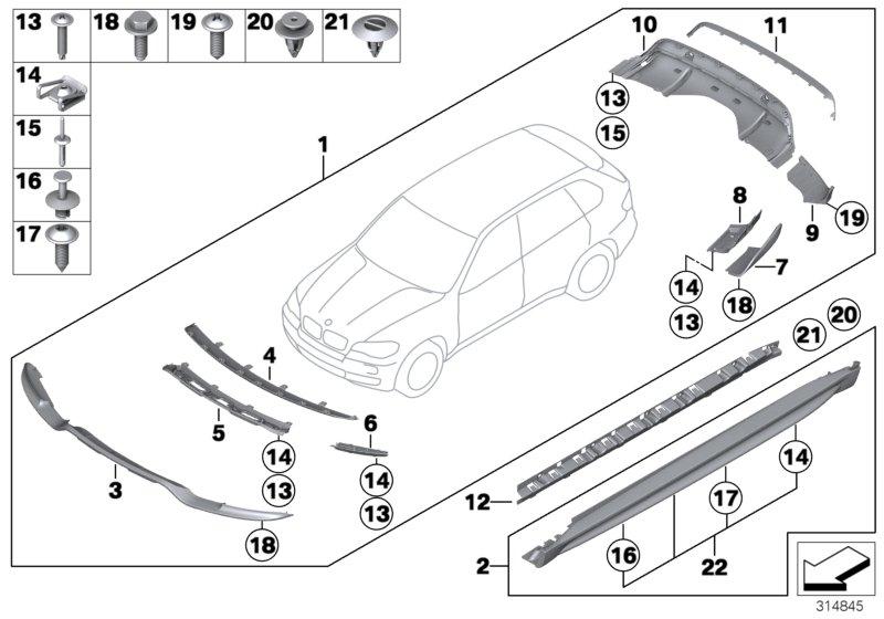 Bmw X5 Attachm  Part  Trim Panel  Bumper  Front  Ersatz