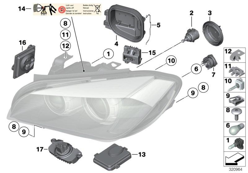 Bmw X1 Repair Clip  Valeo  Exterior Right  Headlight