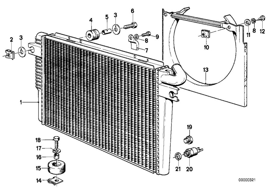bmw 735i fan shroud  radiator  engine  frame  cooling