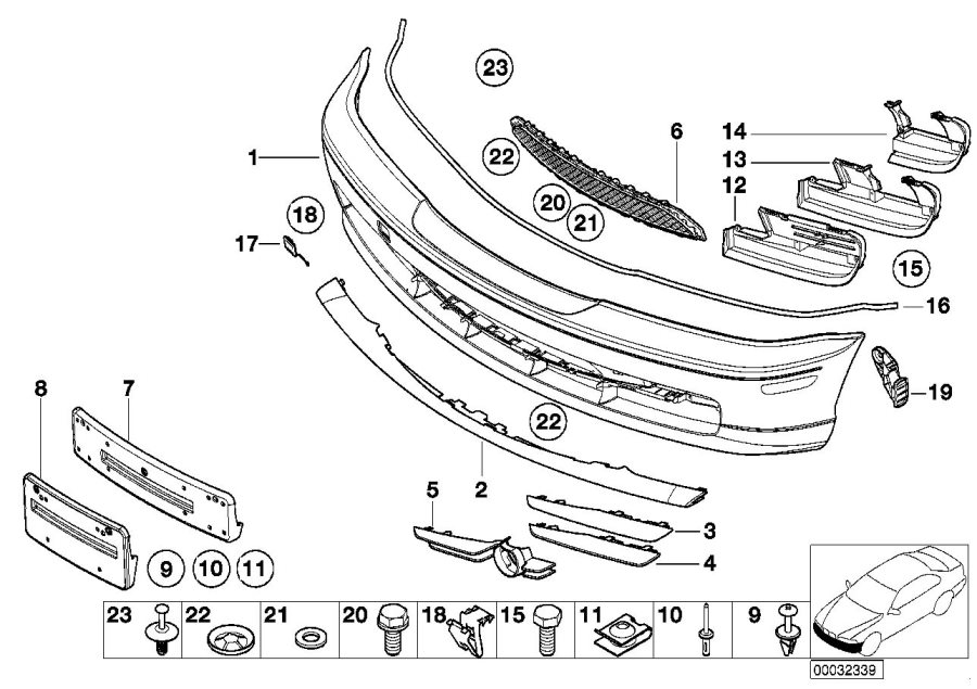 Bmw 328ci Covering Right  Front  Trim  Panel  Bumper  Body