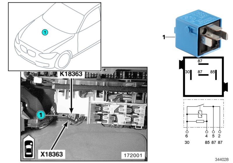 2006 Bmw 330ci Relay  Make Contact  Sky-blue  Valvetronic  Dde  Inject