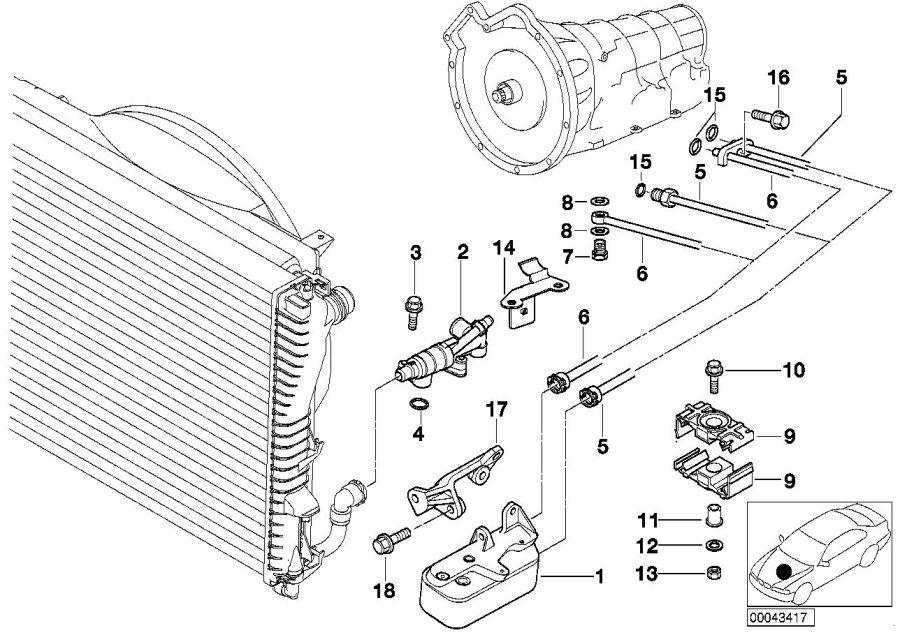 bmw 740i bracket oil pipe  cooling  engine
