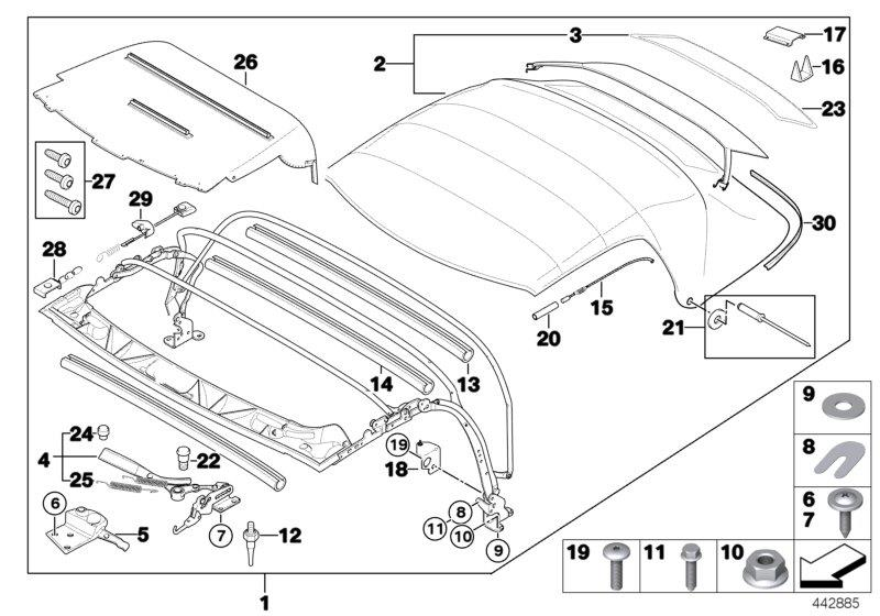 on Bmw E46 Convertible Top Parts Diagram