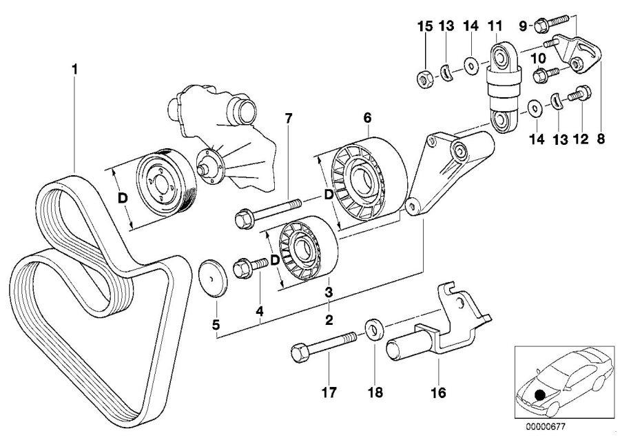 bmw 540i adjusting pulley  drive  belt