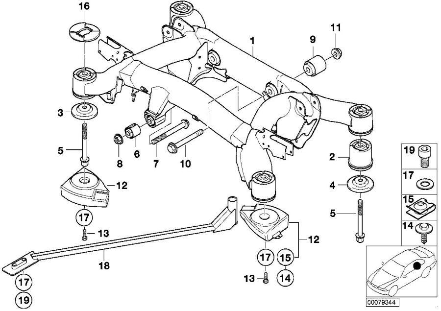 bmw 525i stabilizer support  suspension  rear  axle