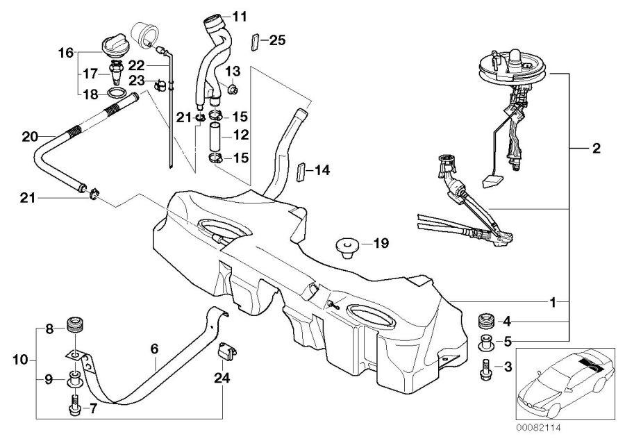 16116757347 - BMW Plastic fuel tank with left sensor ...