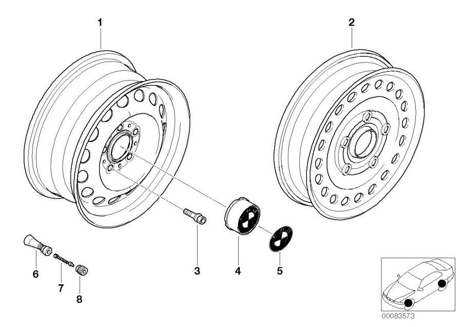 bmw 325xi compact spare wheel  steel  black  3 50bx17 et 30  tyres  winter  wheels