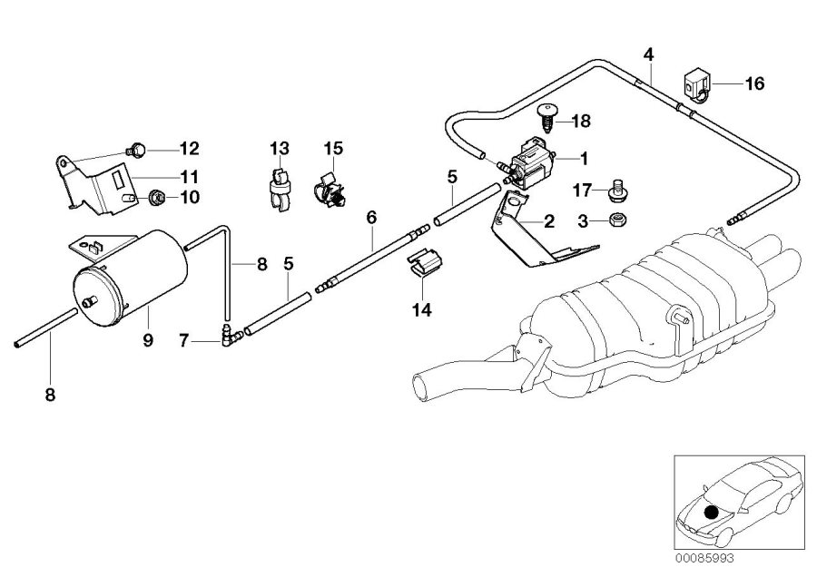 bmw 330xi bracket  vacuum accumulator  exhaust  system