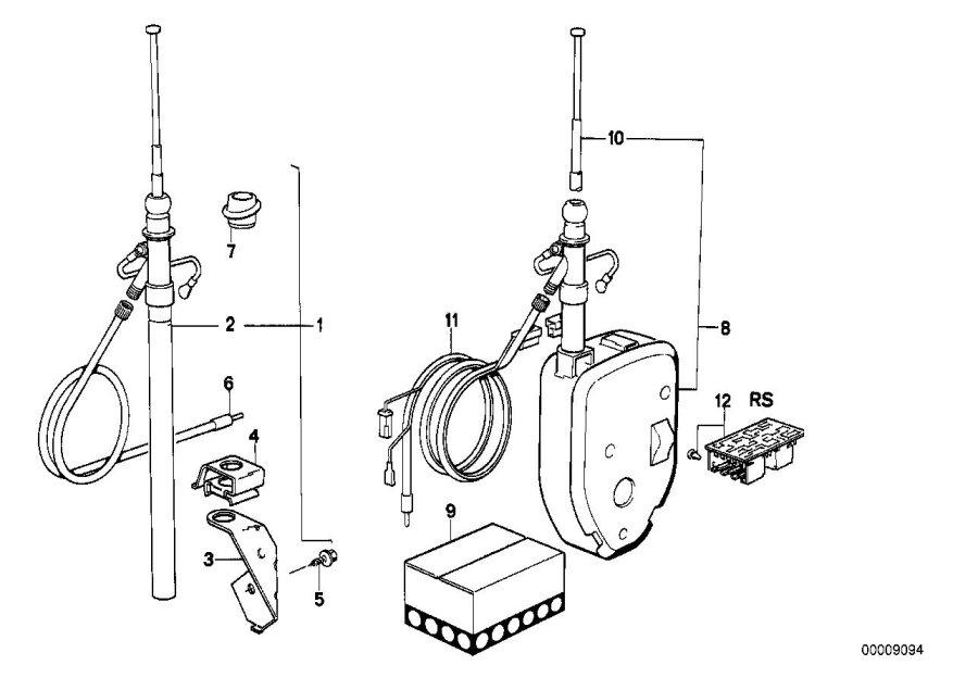 bmw 533i wiring rear  5400mm  antenna  electrical  system