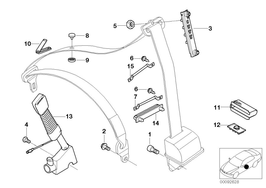 Bmw X5 Lower Belt With Left Belt Tensioner  Safety  System