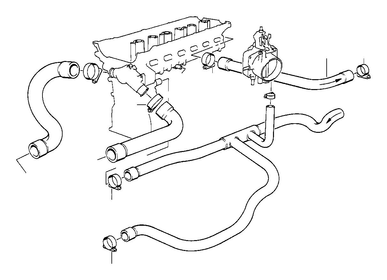 bmw 525i hose return  water  hoses  engine