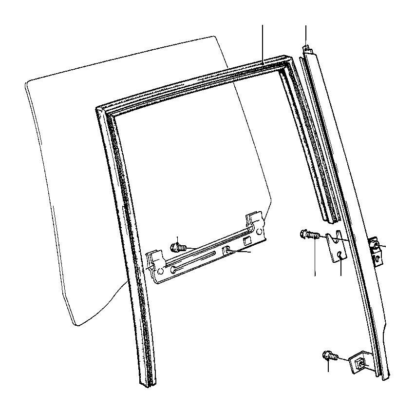 BMW 535i Left One-piece Window Guide. Rear, Door, Body