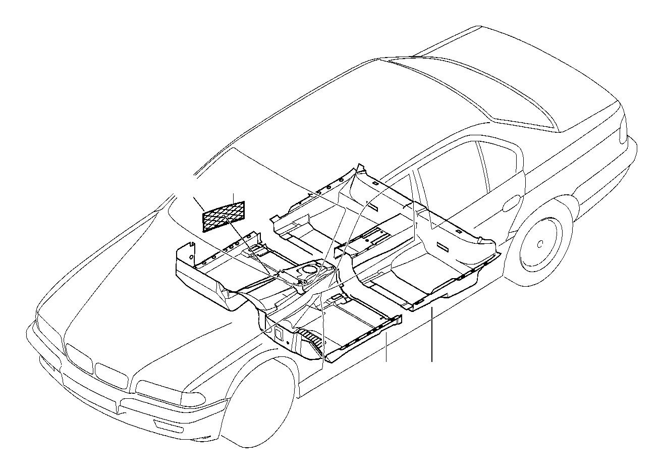 bmw 740i floor trim  front  lavendelgrau  covering